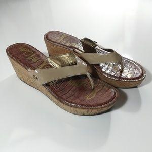Sam Edelman Romy Tan Nude Cork Platform Sandals 12